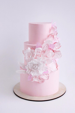 свадебный торт нежный розовый