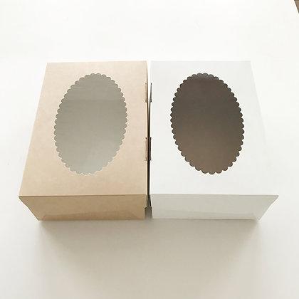 Коробка для Капкейков 6 ячеек с окном крафт/белая