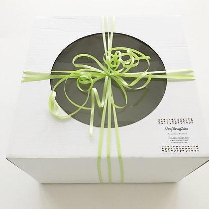 Коробка для небольшого торта с круглым окном плотная 24х24х22 см