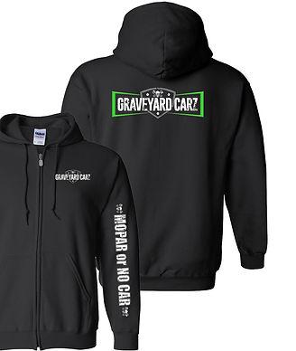 Graveyard Carz Logo Zip-up Hoodie with Mopar or Nocar Sleeve (GYC-013R)