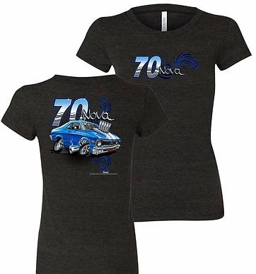 Ladies 70 Chevrolet Nova Tooned Up Tshirt (NSG-223)