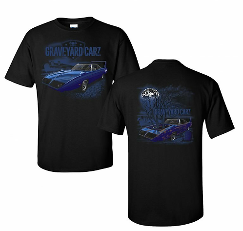 Black crew neck short mens and unisex shirt with a glow in the dark before and after of a superbird car before being restored