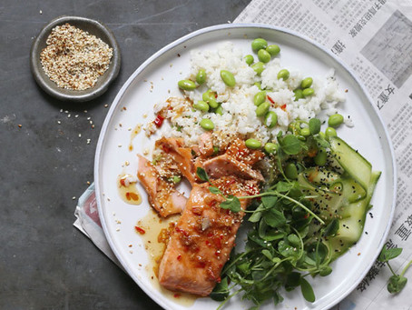 Sesame Salmon With Sticky Coconut Rice