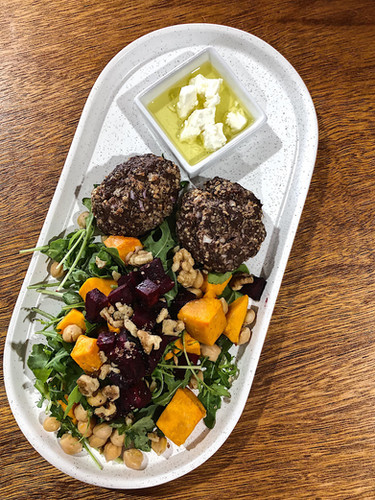 Rocket salad and Quinoa and beef pattie.