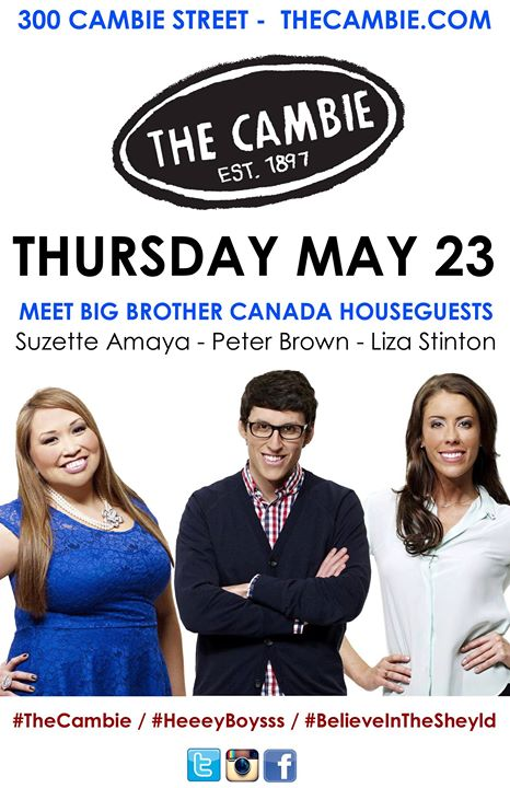 Facebook - TOMORROW! MAY 23 @CambieGastown Meet #BBCAN @SuzetteAmaya @alsopeterb