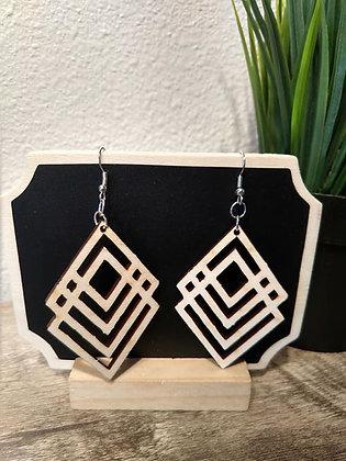 Geo Diamond Birchwood Earrings