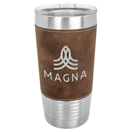20 oz Leather Wrapped Cup with Lid