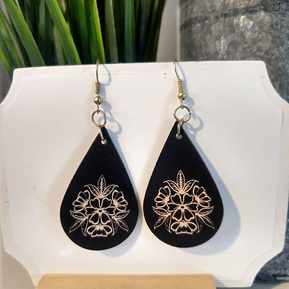 Floral - Leather Earrings