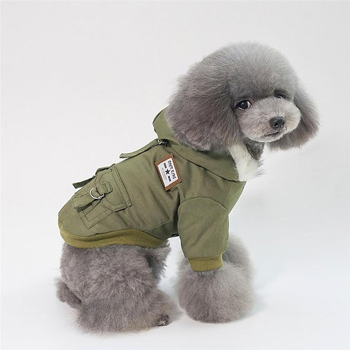Winter Dog Jacket with Faux Fur Lined Hoodie