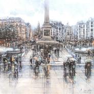 Rain on Trafalgar Square
