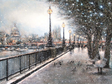 Evening snowfall on the South Bank