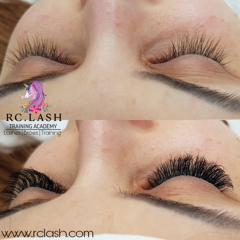 before/after Russian Volume Eyelash Extensions