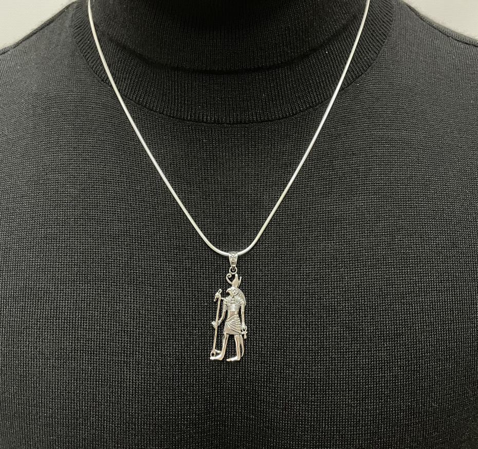 """22"""" Sterling Silver Snake Chain with Horus Pendant"""
