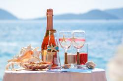 Champagne sur la plage