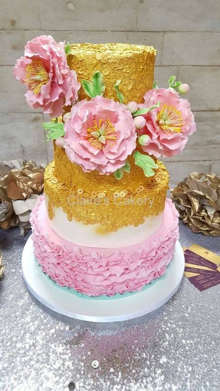 Pink and gold sequin peony cake