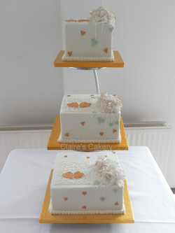 Gold and White Rose Cake