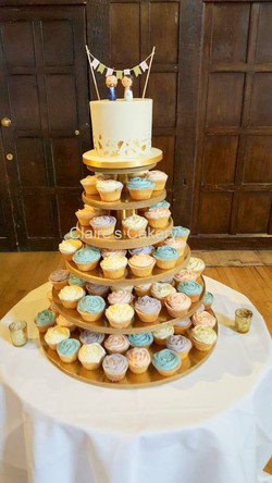 Gold leaf cake and cupcake tower