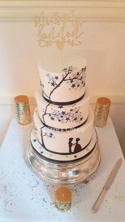 Stars Silhouette Wedding Cake