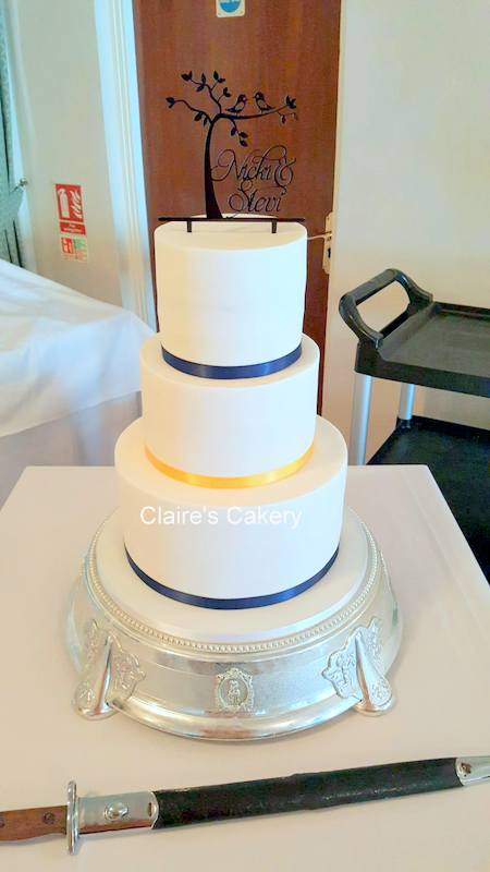 Navy and Yellow Wedding Cake