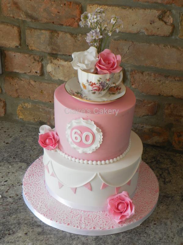 Vintage Teacup 60th Cake