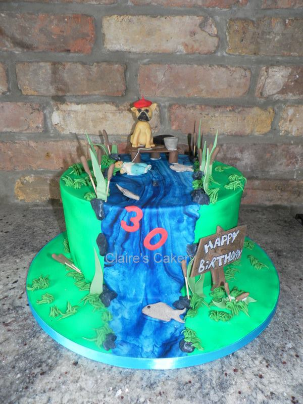 River Fishing Hobby Cake