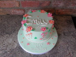 Mint green flower cake