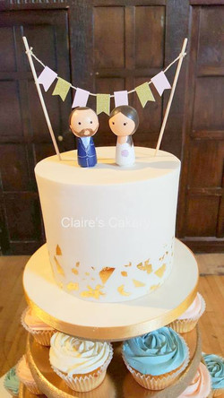 Gold Leaf cake with bunting