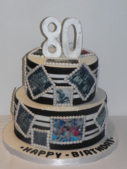 80th Black and white cake