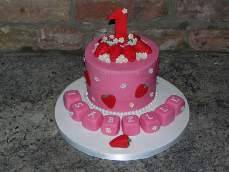Strawberry 1st Birthday Cake