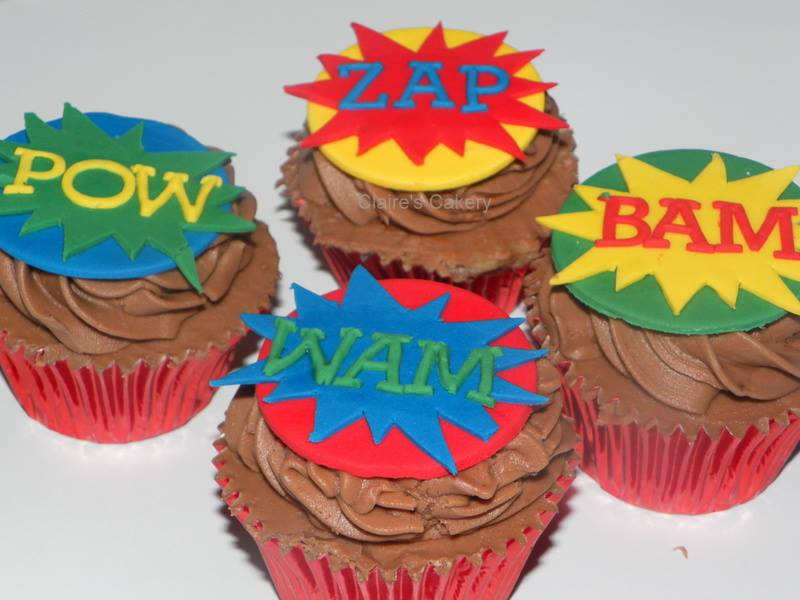 Comic Book speech bubble cupcakes