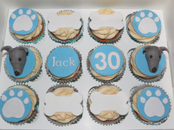 Whippet themed cupcakes