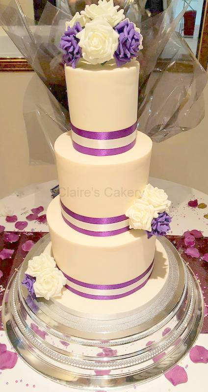 Plum and Ivory Rose cake
