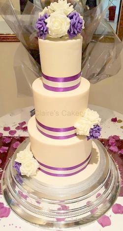 Plum and Ivory Rose cake