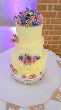Rustic buttercream flower cake