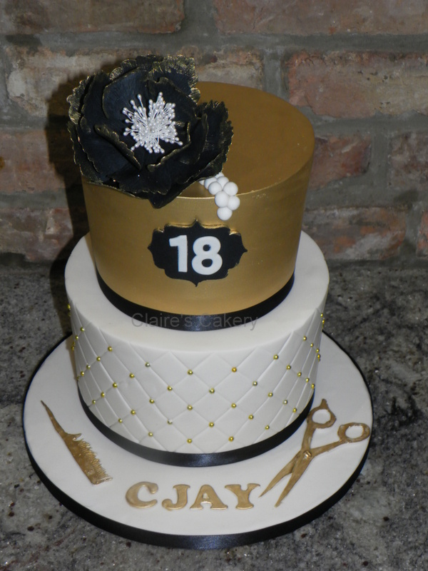 Black and Gold 18th Birthday cake