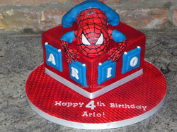 Crouching Spiderman Cake