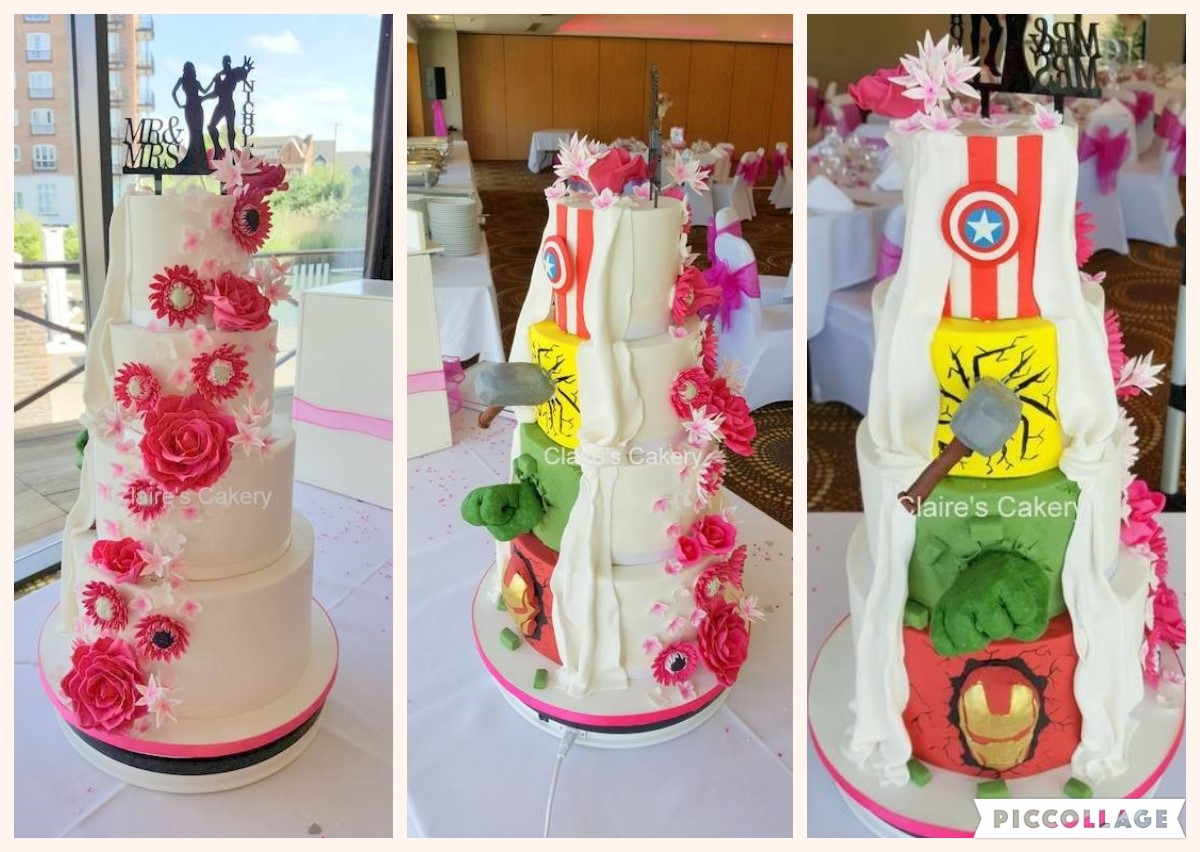 Hot pink Marvel Wedding cake