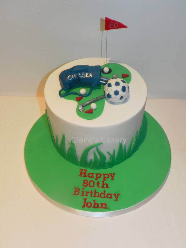 Gold and Chelsea FC cake