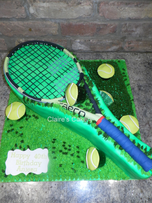 Tennis Racket and Balls Cake