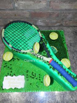 Tennis Racket and Balls Cake