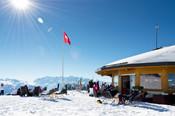 Le restaurant de La Croix-de-Coeur en hiver