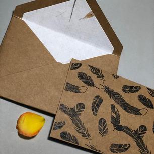 Kraft Feather Eco friendly notecard set