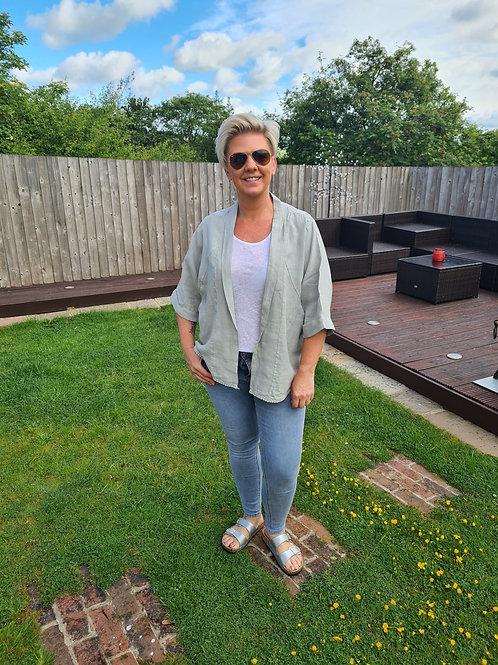 Grey linen jacket by Suzy D London