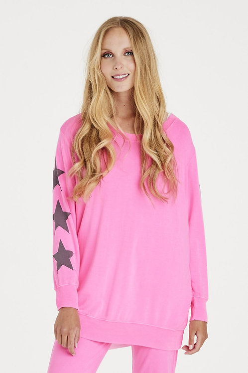 Pink starry sleeve sweat by A Postcard from Brighton