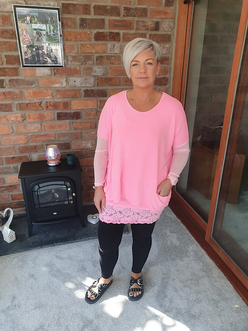 Pink nesh sleeve top by A Postcard from Brighton