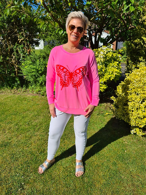Pink butterfly top by A Postcard from Brighton