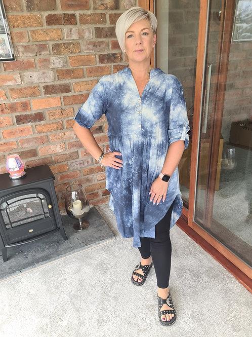 Blue and white tye dye tunic dress