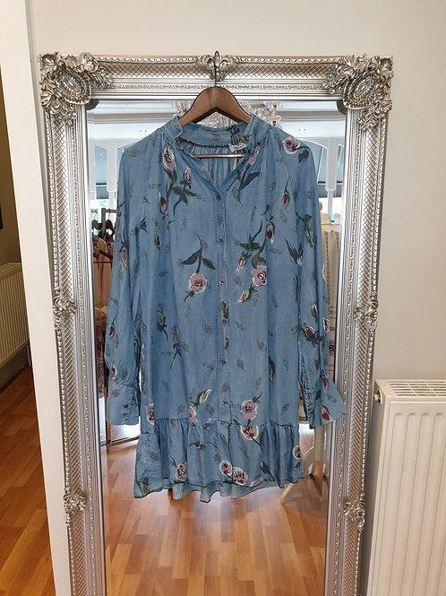 Denim shirt dress with pink floral pattern