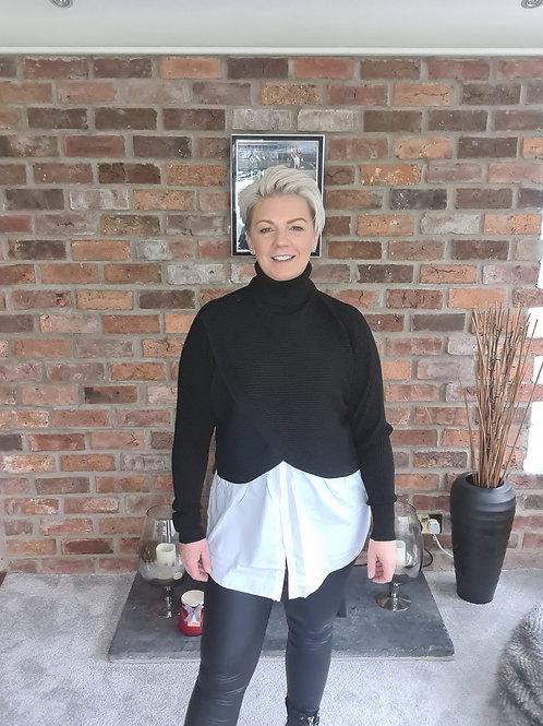 Black polo top with shirt edge