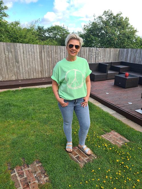 Lime green peace logo t shirt by Sundae Tee